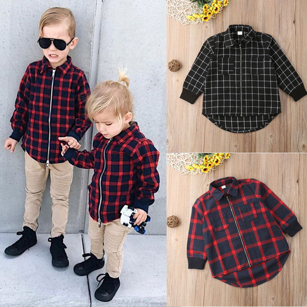Baby Boy Autumn Plaid Zipper Long Sleeve Top Red And Black Two Colors Coat Children Boy Clothes
