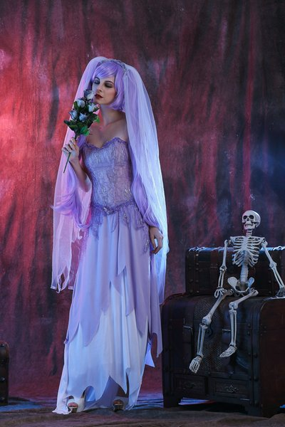 Tipi caldi all'ingrosso, Halloween Adult Ball, Purple Tube Top Dress, Ghost Bride Ghosts Stage Performance Costume COS Uniform