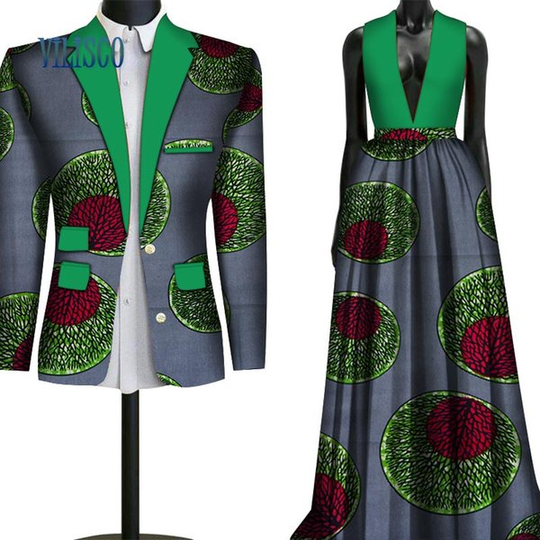2018 Fashion Sweet Couple Clothing Flowers Men's Suits & African Print Dresses for Women Bazin Riche Lovers Couple Clothes WYQ79