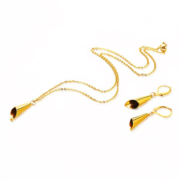 New Cute Fashion Chic Ladies 316L Stainless Steel Gold Color Geometric Simple Jewelry Sets Designs for Women