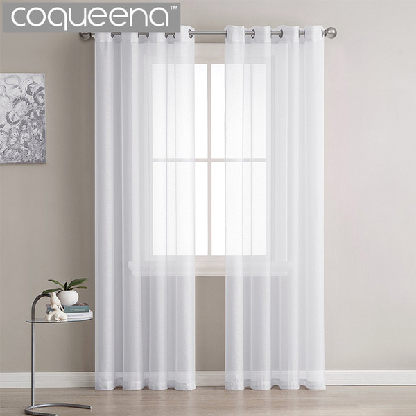 Modern Plain White Sheer Curtains Cucina Voile Tulle Tende per soggiorno Camera da letto Finestra Custom Ready Made, 1 pannello