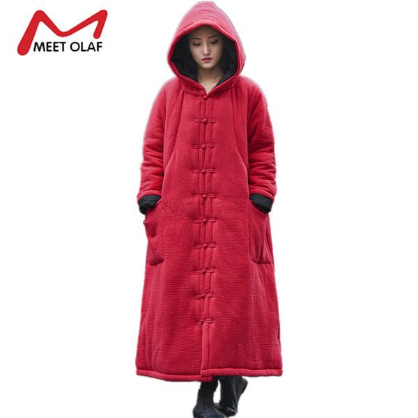 Wholesale- Women Winter Coats Hooded Cape Long Warm Cotton Padded Female Loose Trench Coats 2017 Vintage Retro Windbreaker Plus Size Y915