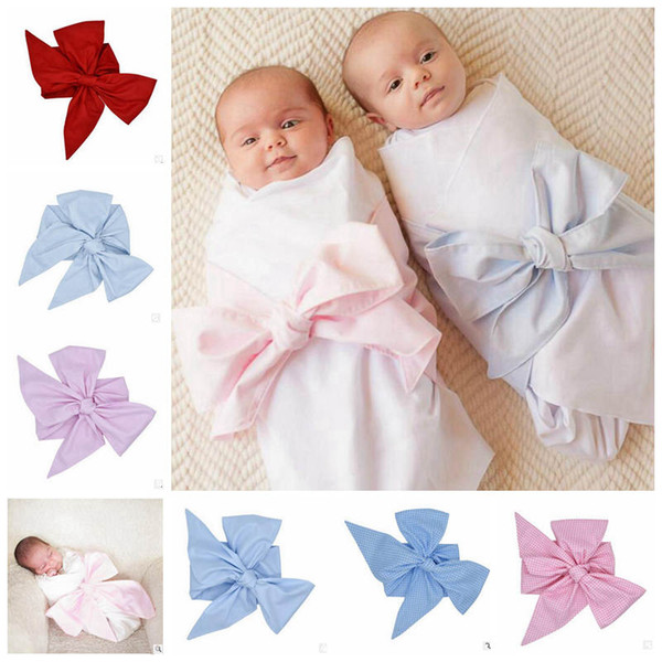 best selling Newborn Swaddle Sash INS Baby Big Bow Sashes Baby Swaddle Blanket Big Bow Sash Newborn baby Swaddle Photo Prop 7 Colors YL109