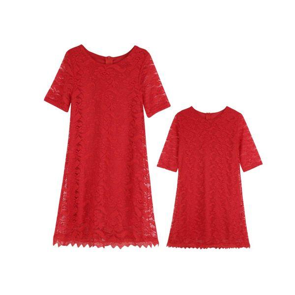 Summer Family Matching Clothes Mother Daughter Sundress Kids Girls Lace Dress Half Sleeve Bodycon Dress Set