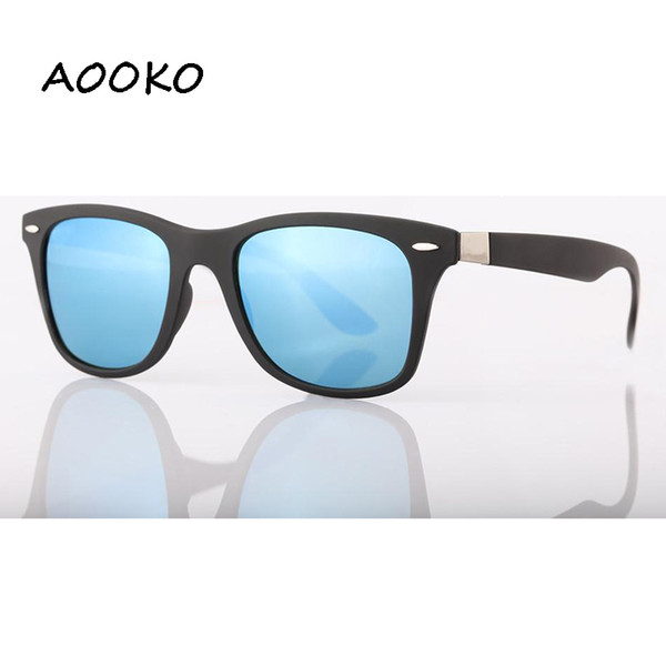 AOOKOjeff 4195 UV Protection Square Sunglasses Men Brand Designer Glasses Hikers Travel Matte color Frame Glass Lens women Sunglass 52mmA