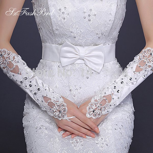 New Arrival Fashion Fingerless Below Elbow Length Appliques Bridal Gloves With Crystals Bridal Wedding Gloves For Bride