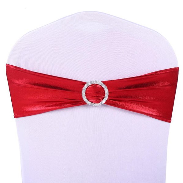 New Elastic Organza Chair Covers Sashes Band Wedding Bow Tie Backs Props Bowknot Spandex Chair Sash Buckles Cover LX3745
