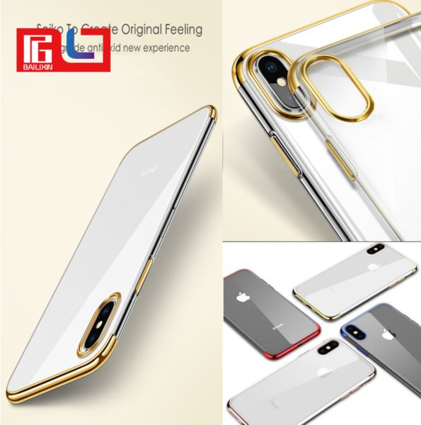 3 Segmentation Electroplating Soft Flexible TPU Original Feeling Ultra-Slim Camera Protection For Iphone X Phone Case DHL Free Shipping