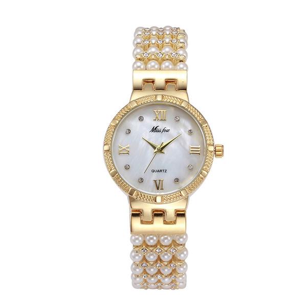 Hot Nature Pearl Watch Women Rhinestone Dress Women Gold Watch Fashion Diamond Pearl Chain Band Women Girl Golden Clock