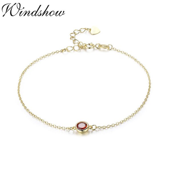 Slim 925 Sterling Silver Gold Color Chain Round Stone Charm Bracelet For Women Girls Jewelry Armbanden Voor Vrouwen Brazaletes