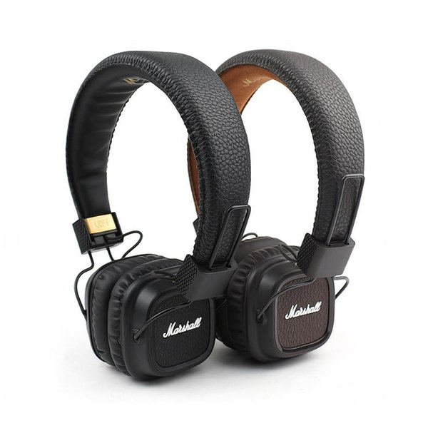 Marshall Major II Casque avec micro serre-tête Casque basses profondes Moniteur de studio Casques Rock DJ Écouteurs Hi-Fi Marron Noir