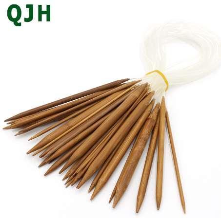 Venta caliente QJH Anillo de Bambú Aguja 40 cm 60 cm 18 set / 36 unids suéter Circular de Tejer Artesanías Herramientas Incienso Agujas carbonizadas naturales