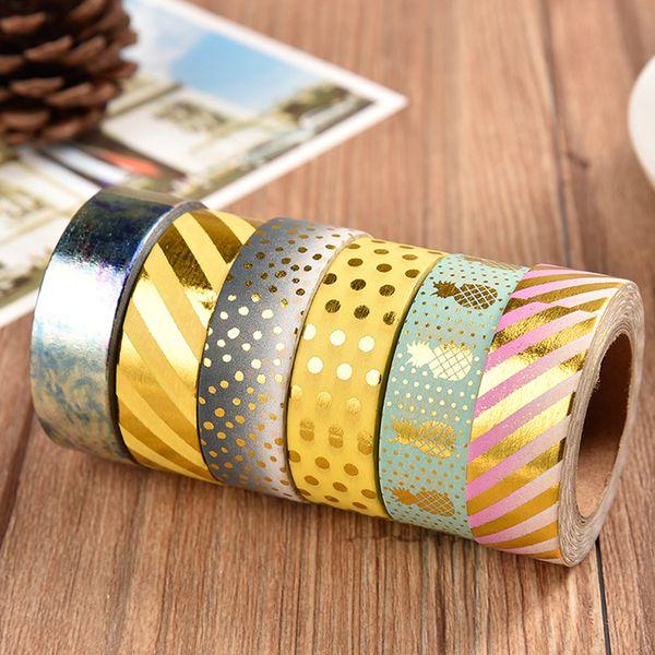 best selling Gold Washi Tape Decorative Japanese Nail Decorative Sticky Tape DIY Scrapbooking Masking Tape School Office Supply 2016