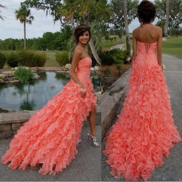 Coral High Low Prom Dresses 2018
