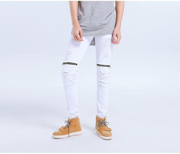 Kanye West Ripped Jeans Men Hi -Street Holes Zippers Design Long Pants Male Bike Jeans Pencil Pants fashion New style