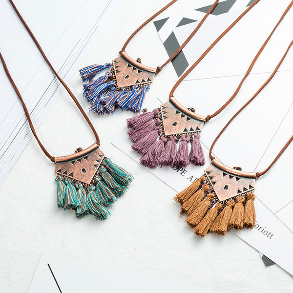 Brown Leather Chain Pendant Tassel Necklace Multi Fringe Tassel Charm Long Necklace Bohemian Chic Jewelry Support FBA Drop Shipping G962R