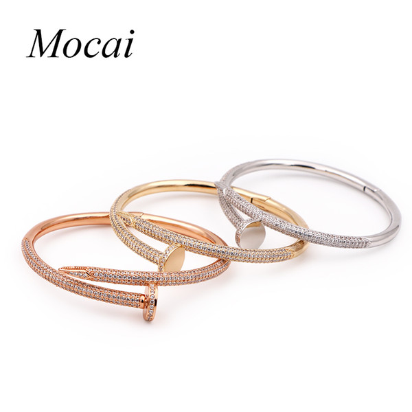 whole saleMochai Punk Rock Style Three Color Optional Cuff Bangle Bracelet for Women Alloy Zircorn Opennable Charm Bracelets Jewelry ZK20