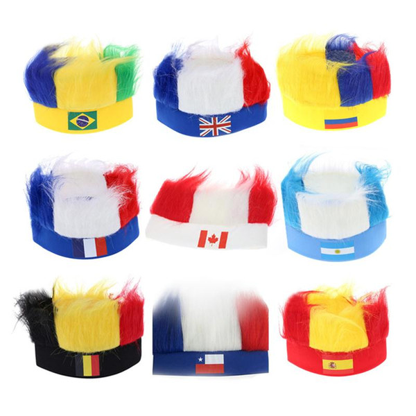 top popular Mix Styles World Cup Football Fans Hats with National flag color Wig Ployester football headband National Flag Headwear 2021