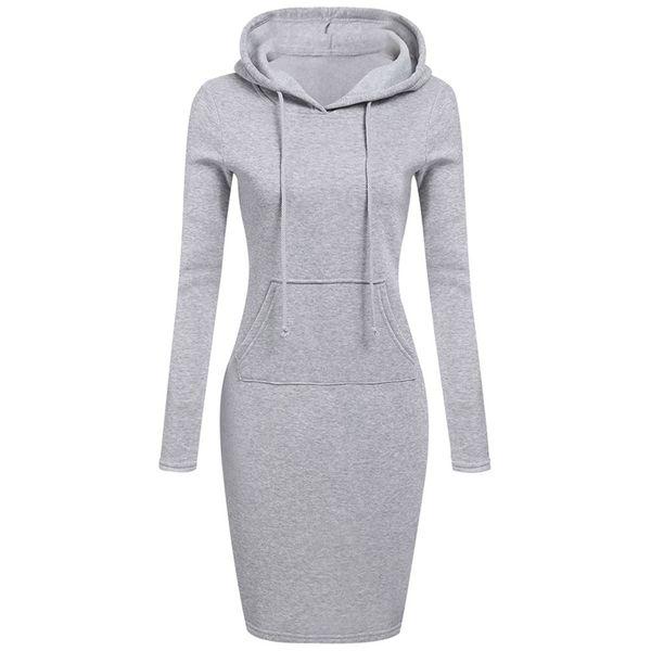 Autumn Dress Women Vestidos Hoodies Sweatshirt Dress 2018 Fashion Hooded Drawstring Full Sleeves Fleeces Women Dresses Plus Size