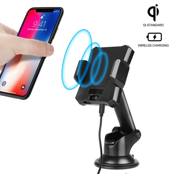 Qi Wireless Charger Pad 360 degree adjustable car wireless charger for samsung s8 s8 Plus s7 for iPhone 8 X 7 Plus car desk