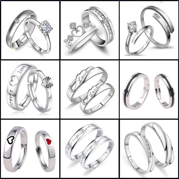 925 Silver Engagement Couple Rings for Women Men Simple Crown Heart Adjustable Ring Fashion Wedding Jewelry Best Gift