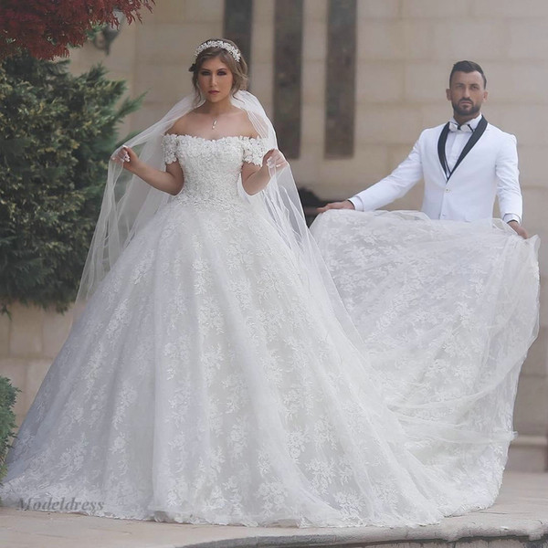 Gorgeous A Line Wedding Dresses Saudi Arabian Off the Shoulder Lace Appliques Long Train Corset Lace Up Back Arabic Style Wedding Gowns