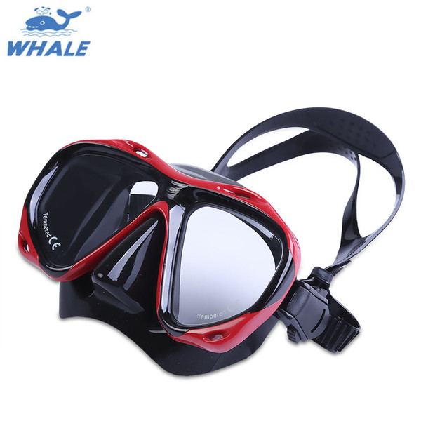WHALE Professional Scuba Swimming Diving Mask with Tempered Glass Lens Goggle Underwater Snorkel Swimming Set Spearfishing Gear