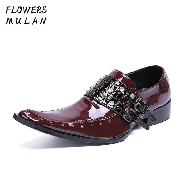 Weinrot Lackleder Männer Kleid Schuhe Gentleman Spitz Männliche Business Schuhe Schwarz Zwei Schnalle Slip On Boy Hochzeit Schuhe