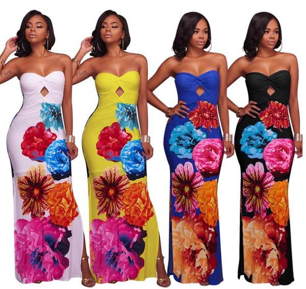 Großhandel Sommer Maxi Floral Printed Kleider Frauen Lange Kleider ...