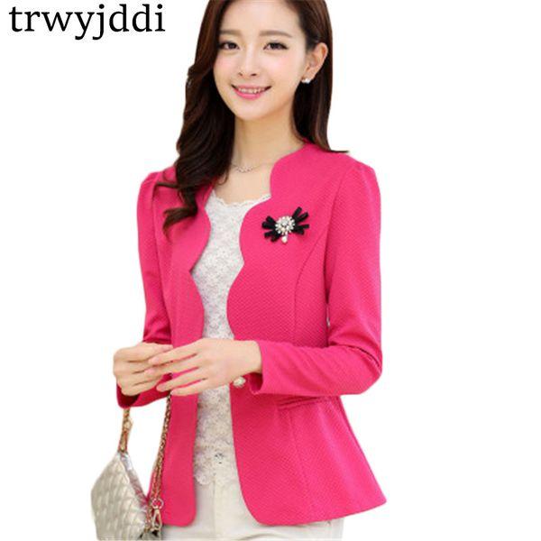 5XL Wave Korean Blazer Feminino 2018 Spring Women Short Jacket Slim V Neck Solid Plus Size Women Blazer And Jacket Coat hl360