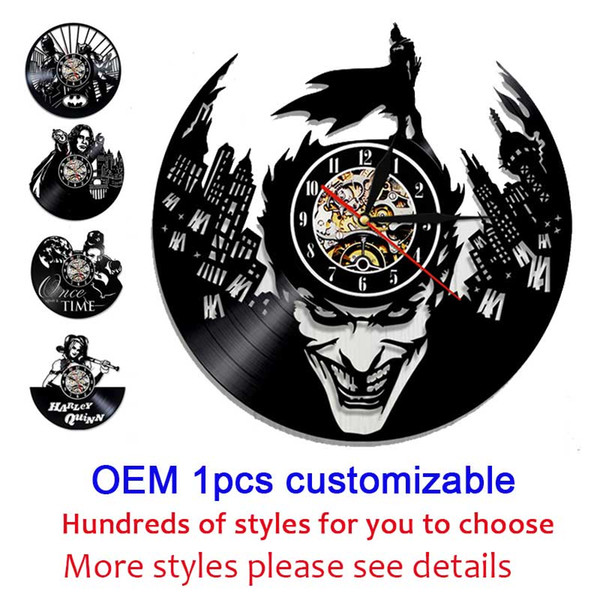 top popular OEM 1pcs customizable 12 inches Black Vinyl Record Wall Classroom Home Decor Wall Art Clock Gift 2019