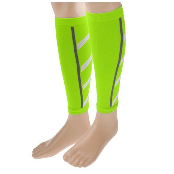 Unisex Running Athletics Compression Sleeves Calf Leg Brace Wrap Shin Splints Fluorescent green