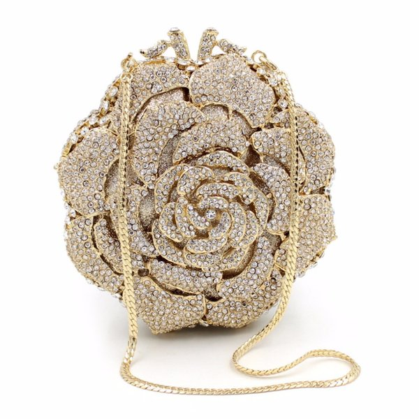 Luxury Crystal Clutch Evening Bag Golden Rose Flower Party Purse Women Wedding Bridal Handbag Pouch Soiree Pochette Bag