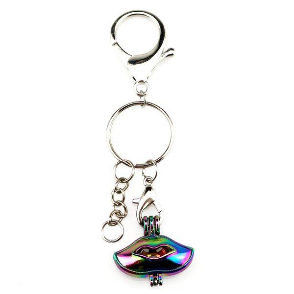 Посеребренные брелки брелок брелок застежка с Радуга цвет губ жемчужные бусины клетка медальон кулон красоты подарок Y592