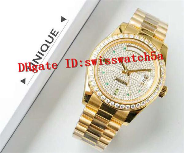 UF Factory Luxury Watch Swiss Automatic Mechanical Movement Sapphire Crystal 316LStainless Steel 18K Yellow Gold swarovski Diamond Men Watch