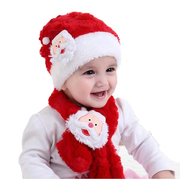 Child Hats Scarf Sets Winter Kids Baby Cap Set Girl Boys Santa Claus Beanie Cap Scarves Warm 2 Pcs Suit Baby Accessories
