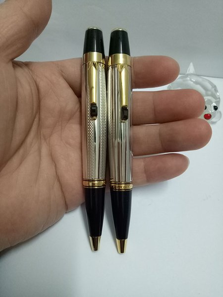 2 style Bohemia short silver body gold clip MB Ballpoint Pen with white star inlay serial number and the diamond's color is random delivery