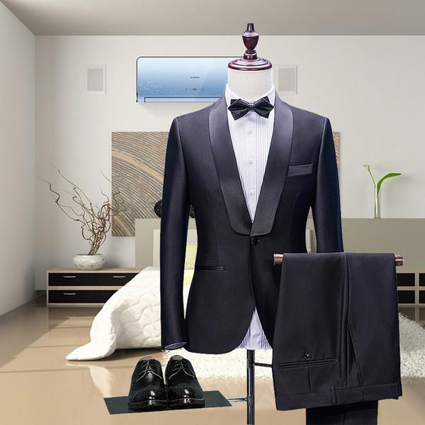 2018 neuesten Mantel Hosen Designs schwarze Männer Anzüge Satin Schal Revers Blazer elegante Mann Jacke Hochzeit Partei männlichen Smoking 2 Stück
