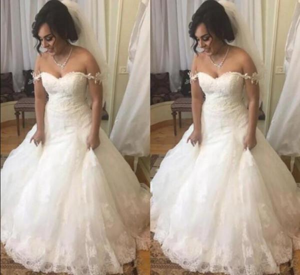 Lace wedding dresses trumpet off the shoulder elegant appliques bridal wedding gowns 2018 vestidos de novia