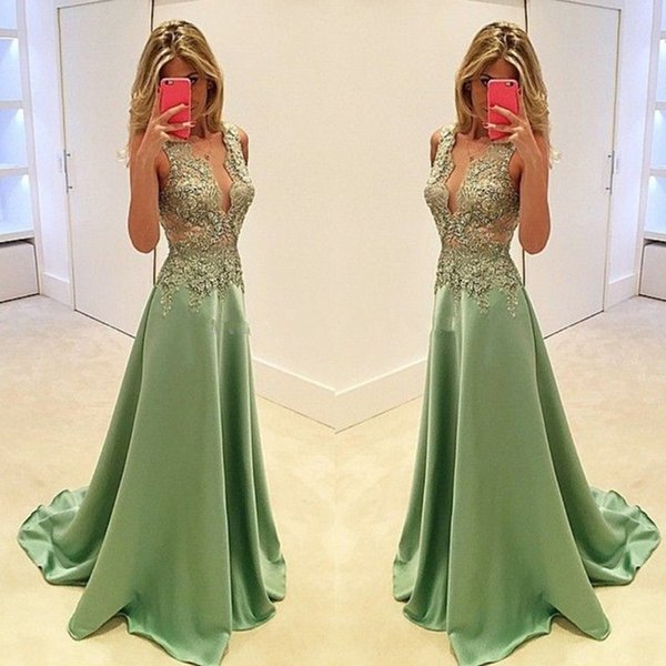 2019 Charming Deep V neck Prom Dresses Evening Dresses Long Party Dresses,Beautiful Sage Handmade Prom Gowns