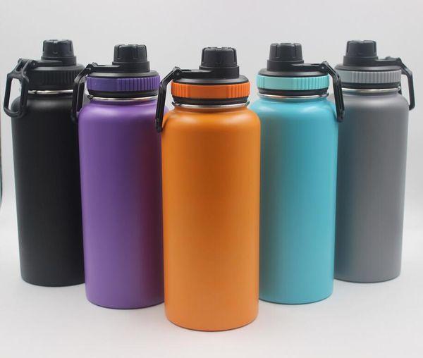 5 couleurs 18 oz 32 oz 40 oz bouteille d'eau vide bouteille isolé en acier inoxydable bouteille d'eau bouche large grande capacité Tasses de voyage avec couvercle bec