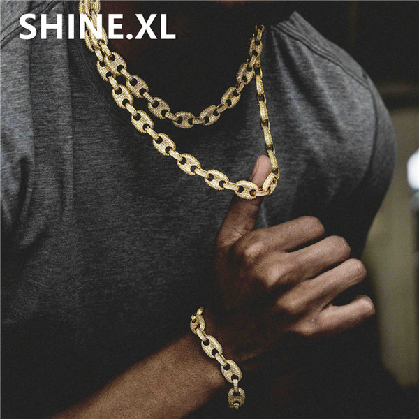 Hip-hop Men Jewelry Necklace and Bracelets Copper Gold/Silver Color Plate Micro Pave CZ Stone Link Chains Jewelry Set