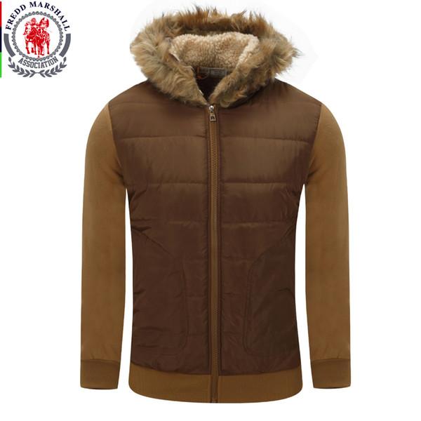 Fredd Marshall New Men Fur Collar Cappotto con cappuccio invernale giacca di cotone spesso top casual con felpa per uomo tuta sportiva da neve 78
