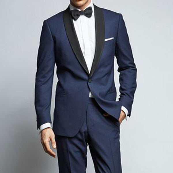 2018 Navy Business Party Men Suits Latest Style Black Shawl Lapel One Button Custom Made Groom Wedding Tuxedos Jacket Pants Vest
