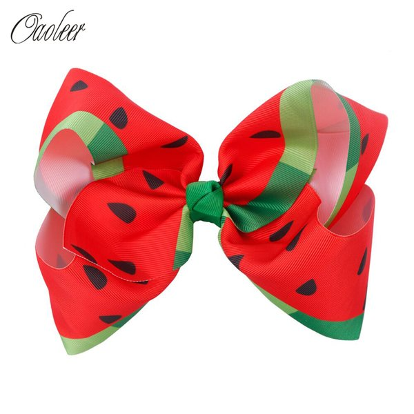 "7"" Fruit Ribbon Hair Bows Summer Style Girls Boutique Bowknot Coon Watermelon Headbands Cute Hair Clip Kids Accessories"