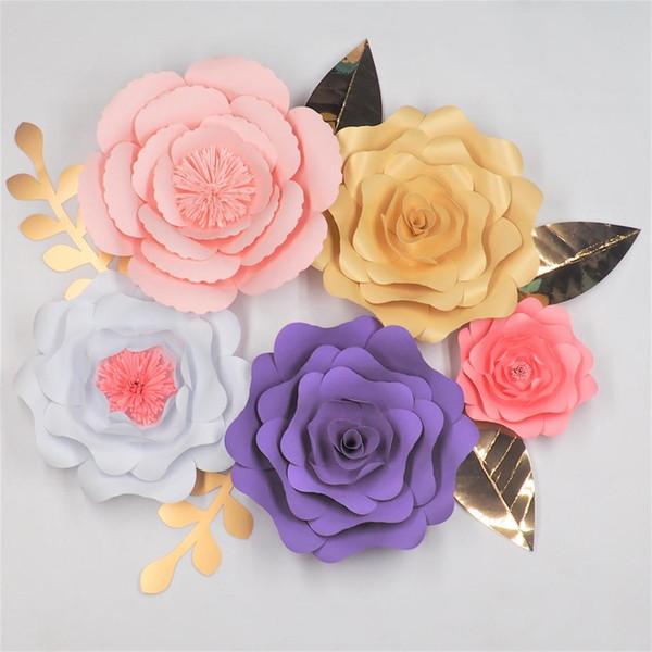 2019 Diy Giant Paper Flowers Backdrop Large Flowers 5 Leaves 5 Wedding Event Decorative Paper Flower Decoracao De Festa Nursery From