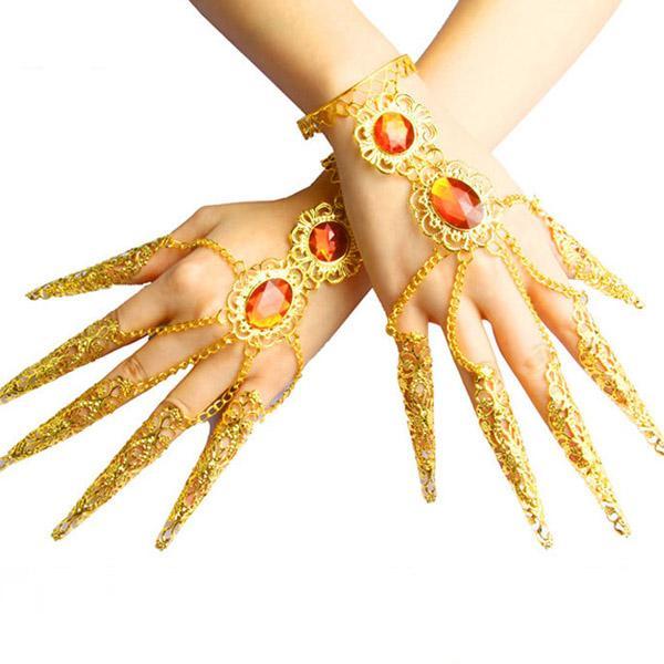 Belly Dance THAI DANCE Metallic Finger Female Gloves Sexy Rhinestone Solid Nails Wristband Bracelet Adjustable Rings