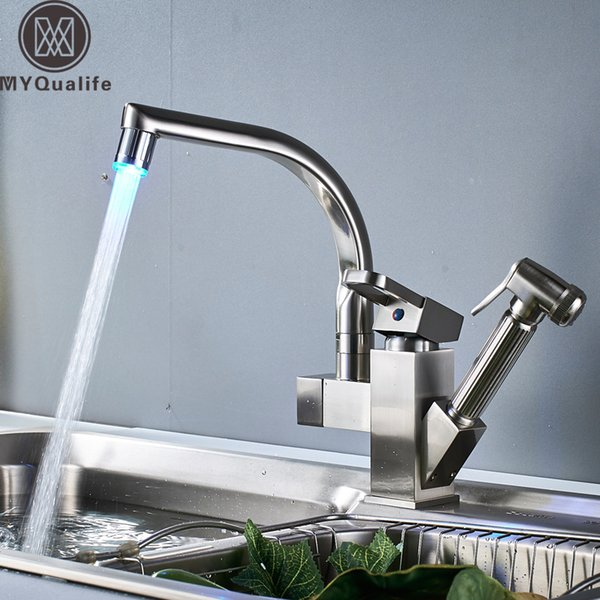 2019 Wholesale And Retail Brushed Nickel Kitchen Sink Faucet LED Light  Swivel Spout Deck Mounted Pull Out Shower Sprayer Head Bathroom Kitchen Mi  From ...