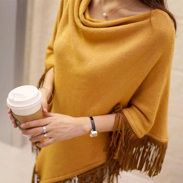 2016 gola da mulher capa de moda marca franja poncho batwing senhoras ponchos inverno e capes padrões de tricô poncho camisola