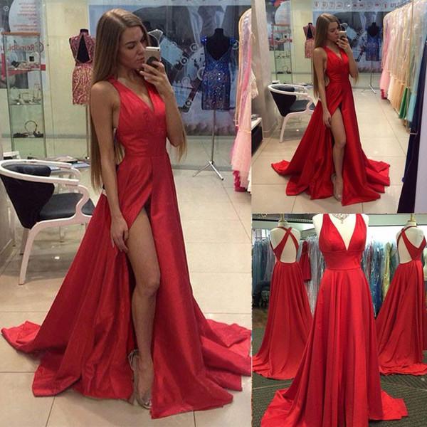 Sexy Red Green Color Evening Dresses V Neck Split Backless Berta Prom Dresses Evening Party Dresses